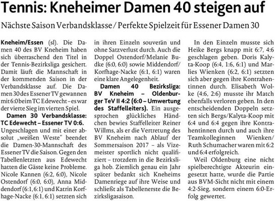 Damen 40: Kneheim - Oldenburg II 4:2 (MT 16.08.2018)